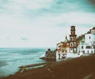 Italien, Campagnia-Region, Amalfi-Küste die Stadt von Atrani Italienische Feiertage Retro- Foto Stockfotografie