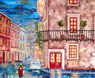 Italien city evening lights painting. Original oil painting of European city Verona at night with cars and scooter driver Stock Photo