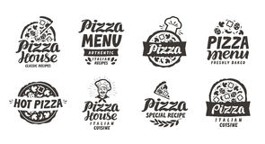 Italien de pizza Les labels de collection pour le menu conçoivent le restaurant ou la pizzeria Images stock