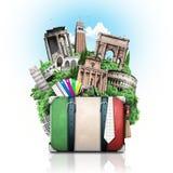 Italien, dragningar Italien och retro resväska arkivfoto