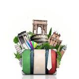 Italien, dragningar Italien och retro resväska royaltyfri fotografi