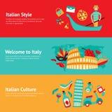 Italien-Fahnensatz Lizenzfreie Stockfotos