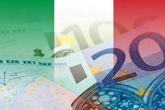 Italien-Flagge mit Eurobanknoten Stockfotos