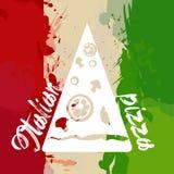 Italien-Flagge mit Farbspritzen und -pizza Stockfotografie