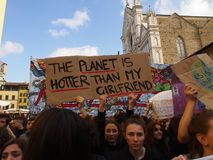 Italien Florence, 15 marsch 2019, fredagar för framtid, sparar planeten arkivfoton