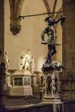Italien Florence, staty av Perseo av Benvenuto Cellini Arkivfoton