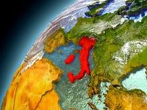 Italien från omlopp av modellen Earth Arkivfoto