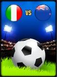 Italien gegen Neuseeland auf Fußball-Stadions-Ereignis-Hintergrund stock abbildung