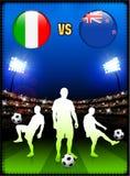 Italien gegen Neuseeland auf Stadions-Ereignis-Hintergrund vektor abbildung