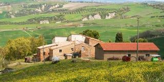 Italien. Haus in Toskana. Val D'Orcia Tal Lizenzfreies Stockfoto