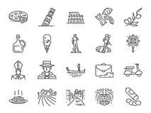 Italien-Ikonensatz Enthaltene Ikonen als Venedig, Gondel, Pizza, Olivenöl, Salami, italienisches Lebensmittel und mehr vektor abbildung
