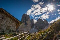 Italien白云岩,南蒂罗尔和italien阿尔卑斯,美好的山风景, tre cime di lavaredo 免版税图库摄影