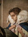 Italien Künstlerisches Erbe Geburt Christi, Arbeit durch Meister von Bolea Detail mit einem Schäfer als trägt ein Schaf auf Schul lizenzfreie stockfotografie