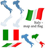 Italien - Karten- und Markierungsfahnenset Stockfotos