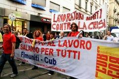 Italien, Leute, die Arbeitslosigkeit u. Politiken protestieren Stockfotografie