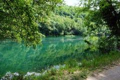 Italien, Lombardei, Adda-Fluss, Ansicht des Flusses Lizenzfreies Stockbild