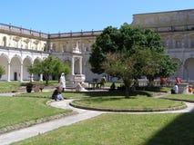 Italien Neapol Certosa di San Martino Cloister arkivbilder