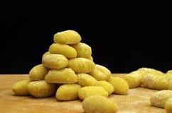 Italien pasta gnocchi. Raw italien pasta gnocchi handmade Royalty Free Stock Photos