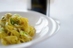 Italien pasta with wine Royalty Free Stock Image