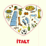 Italien Pen Drawn Doodles Vector Collection Royaltyfri Illustrationer