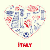 Italien Pen Drawn Doodles Vector Collection Vektor Illustrationer