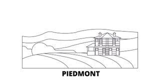 Italien-, Piemont-, Langhe- Roero und Monferrato-Linie Reiseskylinesatz Italien, Piemont, Langhe Roero und Monferrato vektor abbildung