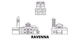 Italien Ravenna stadslinje lopphorisontuppsättning Illustration för vektor för stad för Italien Ravenna stadsöversikt, symbol, lo royaltyfri illustrationer