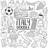 Italien-Reise-traditionelle Gekritzel-Ikonen-Skizzen-handgemachter Design-Vektor lizenzfreie abbildung