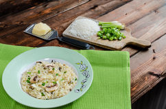 Italien risotto with mushrooms Stock Photos