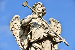 Italien Rome, Castel Sant ` Angelo, staty av ängeln med svampen Royaltyfri Bild