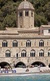 Italien San Fruttuoso abbotskloster nära Genua på det Ligurian havet Royaltyfri Foto