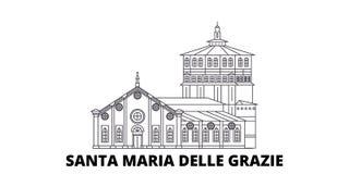 Italien Santa Maria Delle Grazie linje lopphorisontuppsättning Italien vektor för Santa Maria Delle Grazie översiktsstad vektor illustrationer