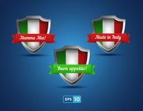 Italien-Schilder mit den roten und grünen Bändern Stockfoto