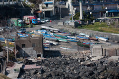Italien Sizilien Acitrezza Die Hafen Lachea-Insel Stockfotos