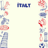 Italien symboler Pen Drawn Doodles Vector Collection Stock Illustrationer
