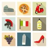 Italien symbolsuppsättning vektor illustrationer