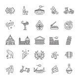 Italien symbolsuppsättning Turism och dragningar, tunn linje design Arkivfoton