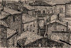 Italien, Toskana Alte Steinhäuser Digital-Skizzen-Handzeichnungs-Vektor Abbildung lizenzfreie stockfotografie