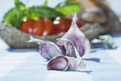 Italien, Toskana, Magliano, Abschluss oben des Brotes, der Tomaten und des Knoblauchs auf Tabelle Lizenzfreies Stockfoto