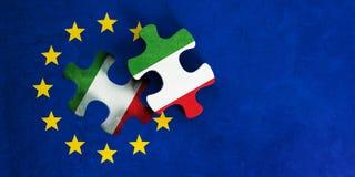 Italien- und EU-Beziehungen Flagge der Europäischen Gemeinschaft mit Italien-Flaggenpuzzlespielstück Abbildung 3D lizenzfreie abbildung