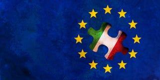 Italien- und EU-Beziehungen Flagge der Europäischen Gemeinschaft mit Italien-Flaggenpuzzlespielstück Abbildung 3D stock abbildung