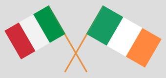 Italien und Irland Die italienischen und irischen Flaggen Offizielle Farben Korrekter Anteil Vektor stock abbildung