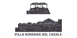 Italien uppsättning för horisont för villaRomana Del Casale plan lopp Italien illustration för vektor för stad för villaRomana De stock illustrationer