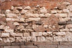 Italien Venedig, forntida tegelstenvägg Arkivfoto