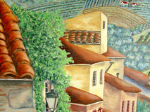 Italien village houses and roofs oil painting. Original oil painting of European village close up of the buildings and roofs Stock Image