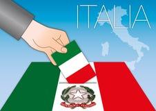 Italien, Wahlen, Wahlurne mit Flaggen stock abbildung