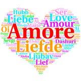 Italienare: Amore Hjärta formad ordmolnförälskelse, på vit vektor illustrationer