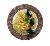Italienare för spagetti med musslor Royaltyfria Foton