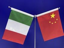 Italienare och kines sjunker med en blå bakgrund royaltyfri fotografi