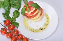 Italiener Caprese mit Olivenöl, Gewürzen und Basilikum Lizenzfreie Stockfotografie